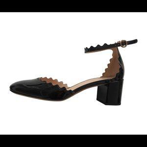 Chloe Black Patent Ankle Strap D'orsay Pumps